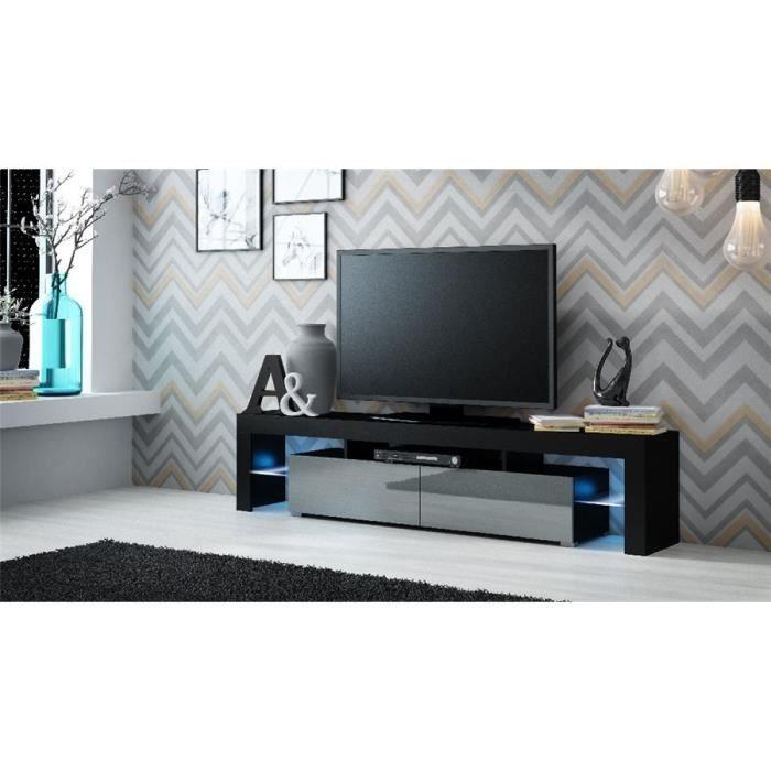 Ensemble meuble TV design CARRIE - Noir et gris