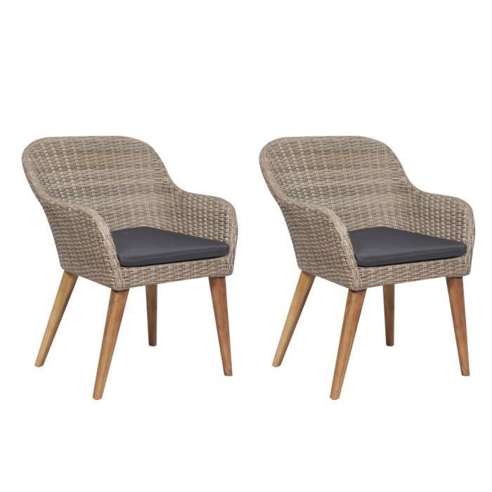 MAGIC Chaises d'extérieur avec coussins 2 pcs Résine tressée Marron ✿4