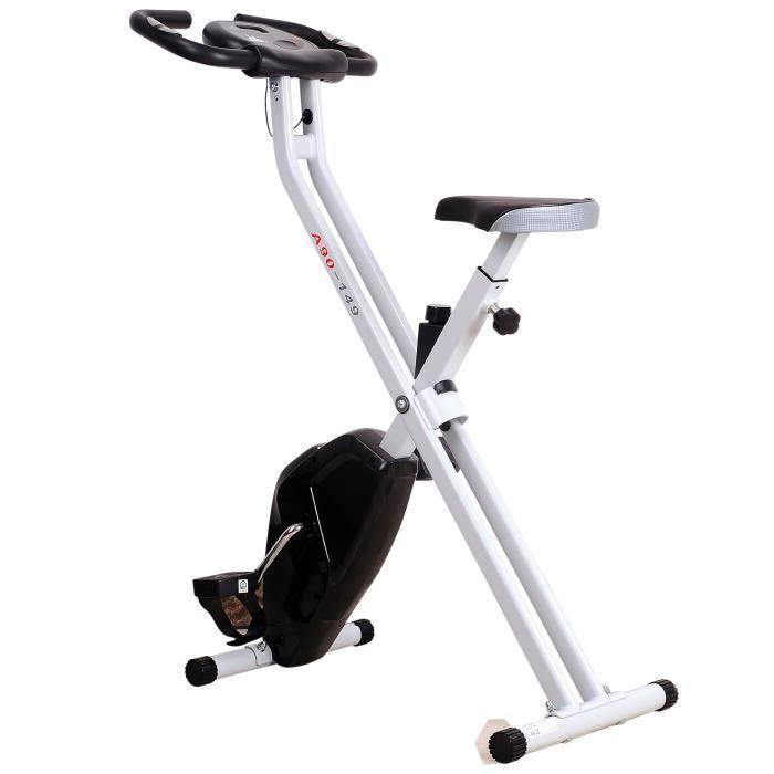 Vélo d'appartement cardio Fitness pliable écran LCD 8 niveaux de résistance selle réglable 83x43x110cm Noir