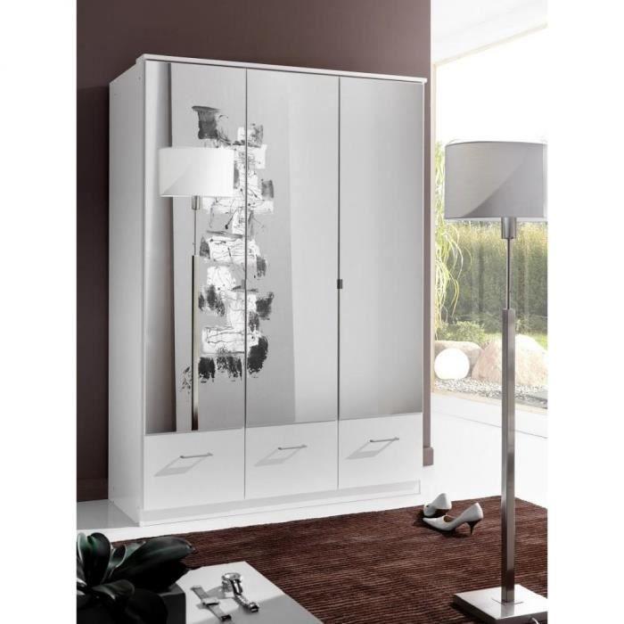 Armoire penderie DINGLE 3 portes miroirs 3 tiroirs largeur 135 blanche blanc Bois Inside75