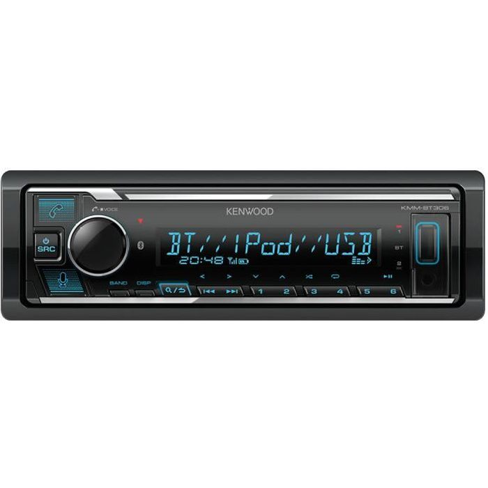 Kenwood KMM-BT306 - Autoradio 1DIN avec écran LCD - FM/MP3/USB - Bluetooth 4.2 - Entrée AUX - Compatibilité Spotify / Amazon Alexa