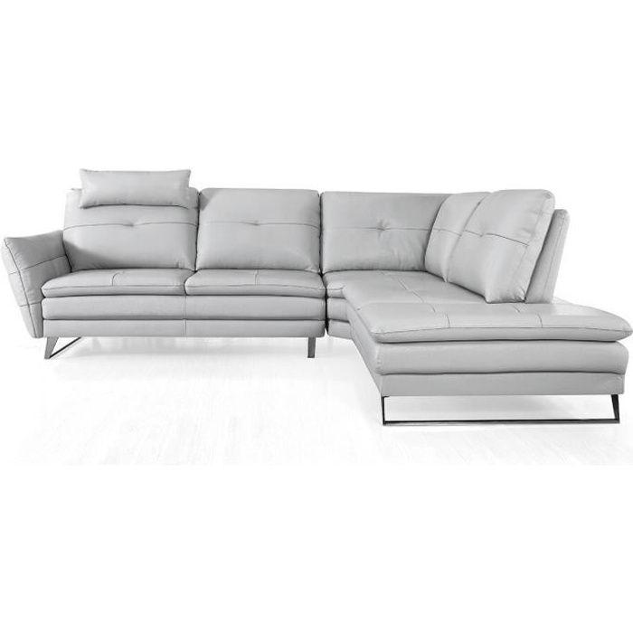 Canapé d'angle gauche en cuir ELENA - Droit - Gris perle