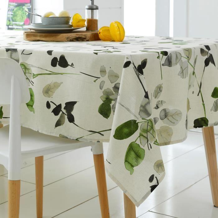 Nappe carrée 170x170 cm 100% coton enduction acrylique FRENE blanc Blanc