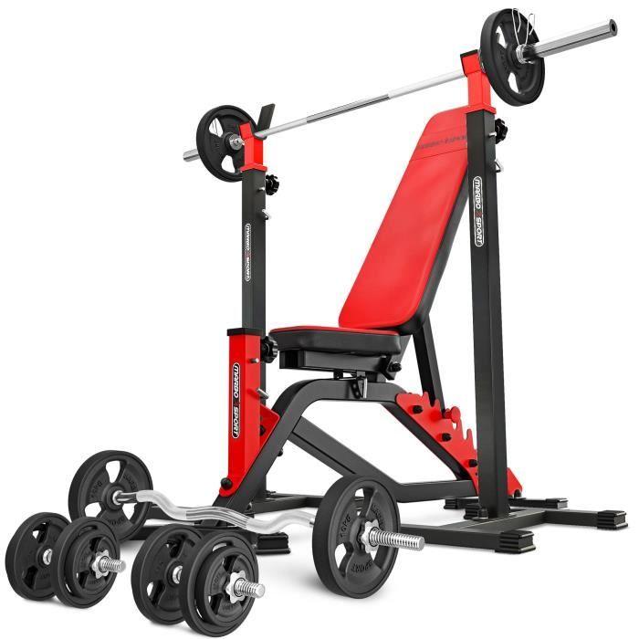 Marbo Sport Set MS1 151KG Kier G - Banc de musculation + support d'haltères réglable + barres et disques en caoutchouc 113 kg