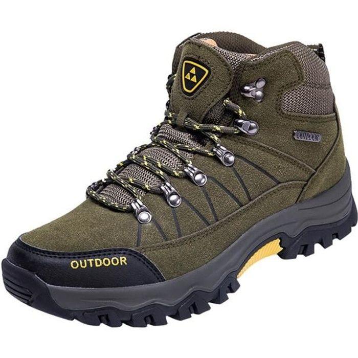 Hommes Chaussures décontractée en plein air Chaussures à lacets d'alpinisme course confortable Vert d'armée