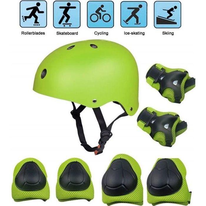 Kit de Protections pour 3-12 ans enfants, Kid's Protective Gear Set pour Skateboard, Roller, BMX, Patin à Glace, Jaune Vert