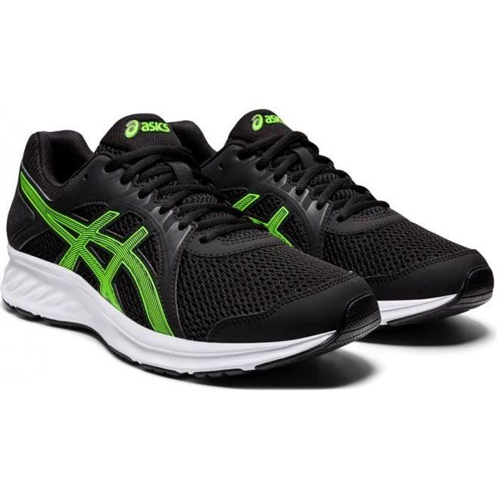 Chaussures de running Asics Jolt 2 en noir et lime, conçue avec des matériaux qui offrent un excellent support et un grand confort.