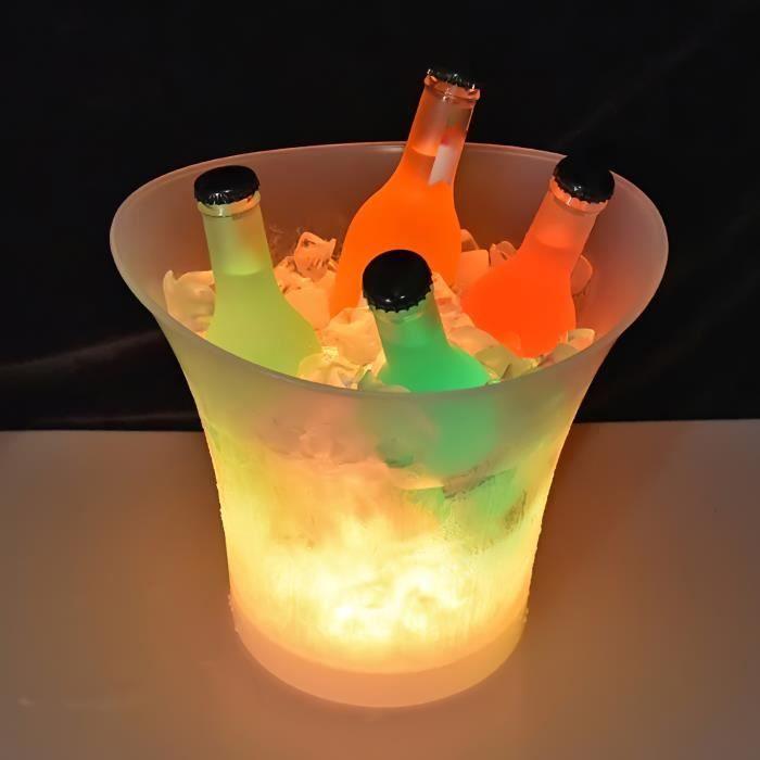 Seau à Glace ,LED 7 couleur Plastique Champagne Bière Seau à Glace, Bar