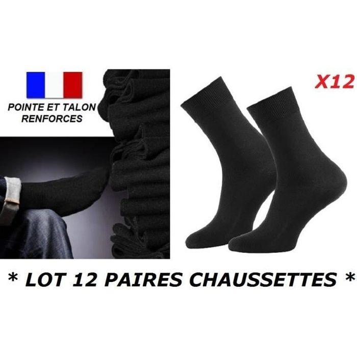 LOT 12 PAIRES DE CHAUSSETTES TAILLE 39 40 41 42 HOMME GARCON UNI NOIR COTON MAJORITAIRE