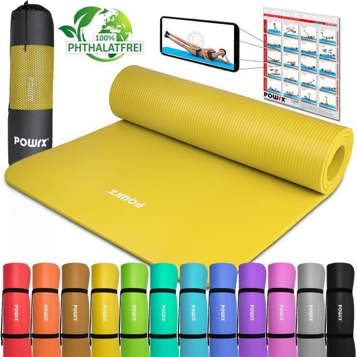 Tapis de gymnastique Tapis de yoga avec tapis d'entrainement I Entrainement 183x60x1cm vers. couleurs Couleur: Jaune