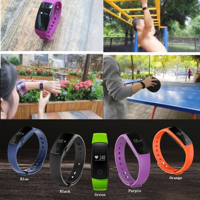 SAVFY® Bracelet Connecté Bluetooth Fonction Fréquence Cardiaque Podomètre Sommeil Surveillance Calories Étanche Sport Montre