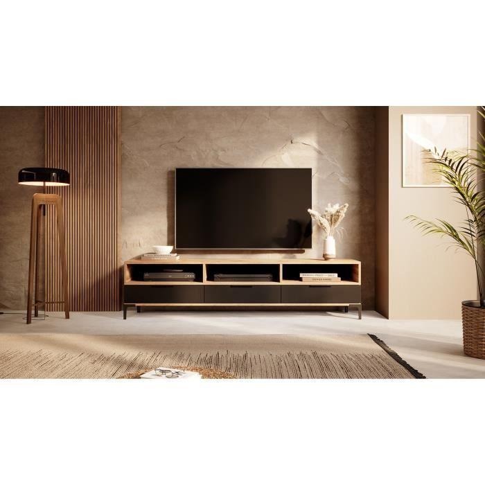 Meuble tv - RIKKE - 160 cm - chêne wotan / noir brillant