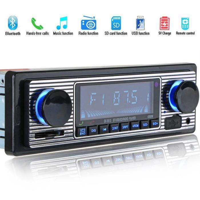 Bluetooth Ancien Autoradio Lecteur mp3 Stereo USB AUX Audio stereo classique de voiture Noir 178* 50*68mm