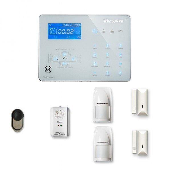 Alarme maison sans fil ICE-B 1 à 2 pièces mouvement + intrusion + détecteur gaz - Compatible Box internet