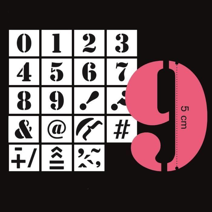 MAHÉ 19 Pochoirs Chiffres Et Ponctuation 5 cm