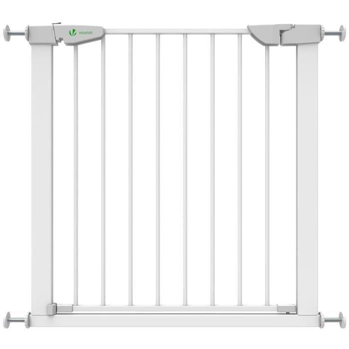 Barriere de Securite porte et escalier 75-84cm blanc pour enfants et animaux