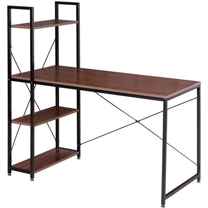 WOLTU Table de bureau en Bois et acier, Bureau d'ordinateur avec étagère de Rangement 120x64x120 cm, Noir+hêtre Foncé