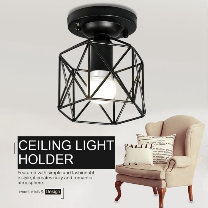 Abat-jour Suspension Industriel Vintage Plafonnier Lampe Lustre Cage Compatible Ampoule E26 Chambre en Fer-JIY