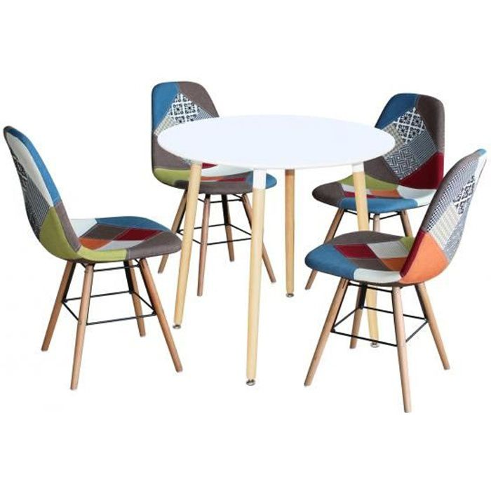 Ensemble Table Ronde Rimma 4 Chaise Patchwork Scandinaves
