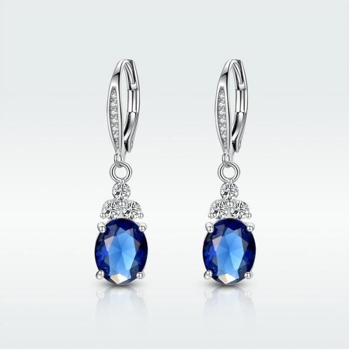 Fashion Lady Plaqué Argent gamstone cristal d/'oreille Hoop Goutte//Dangle Long Boucles D/'oreilles