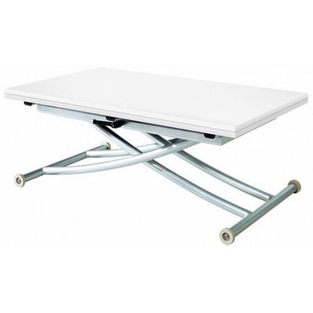 Table basse relevable gloria laqu blanc achat vente for Table basse relevable blanc laque