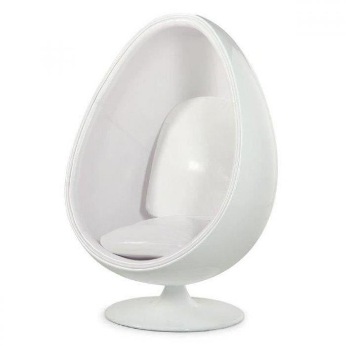 fauteuil boule oeuf design blanc blanc achat vente fauteuil mati re de la structure. Black Bedroom Furniture Sets. Home Design Ideas