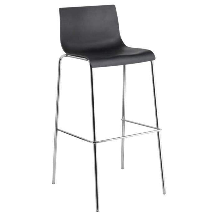 tabouret de bar dossier haut en polypropyl ne noir achat vente tabouret de bar soldes. Black Bedroom Furniture Sets. Home Design Ideas