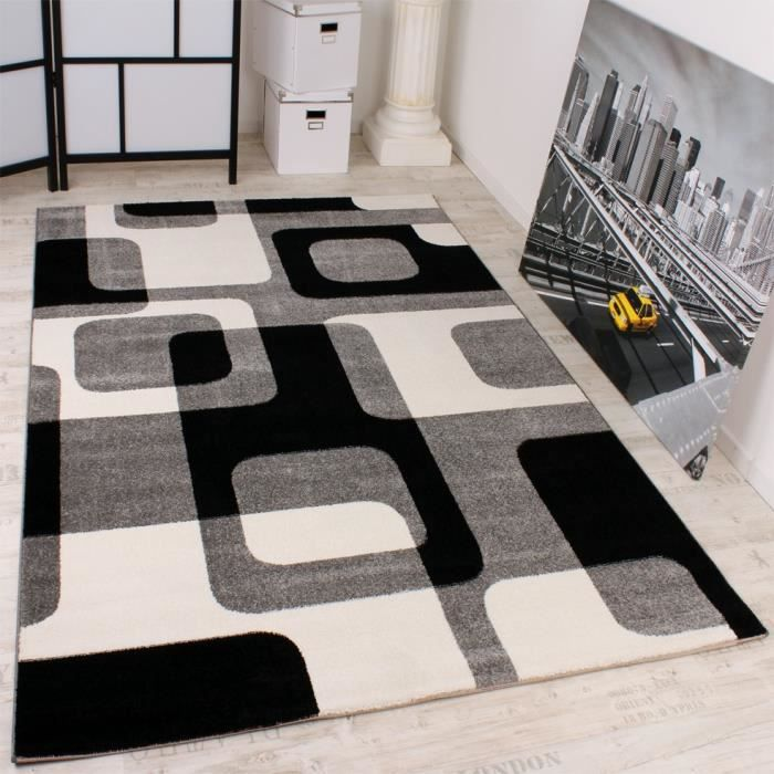 tapis r tro en gris noir blanc 70x250 cm achat vente. Black Bedroom Furniture Sets. Home Design Ideas