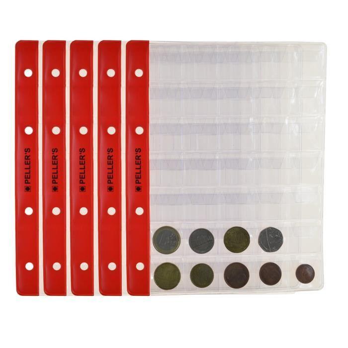 pour 240 Monnaies,Transparentes 24 Cases de 34 mm Feuilles numismatiques AMDC