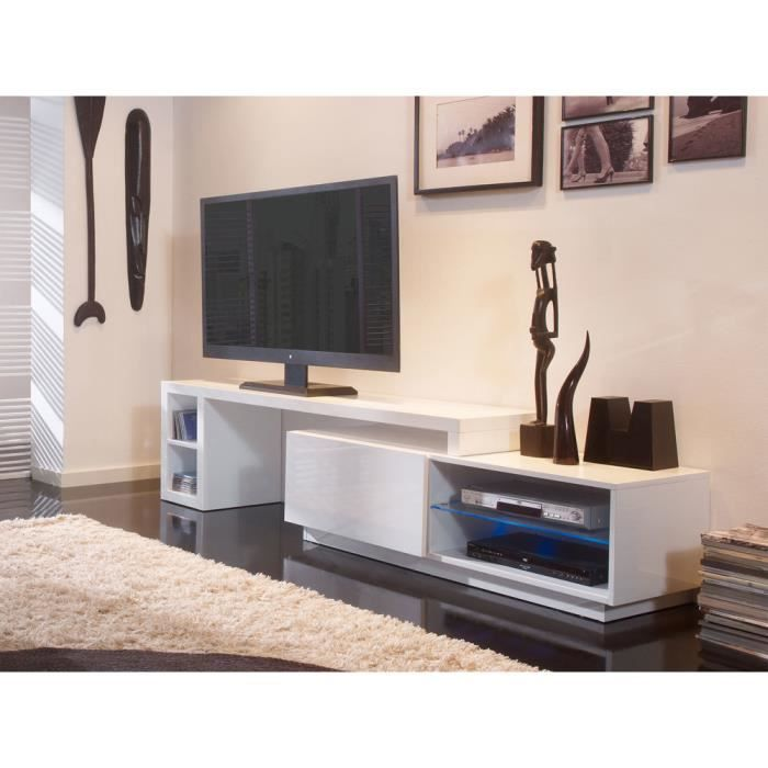 meuble tv bas extensible en bois laqu avec led longueur 160 286cm galston blanc achat. Black Bedroom Furniture Sets. Home Design Ideas