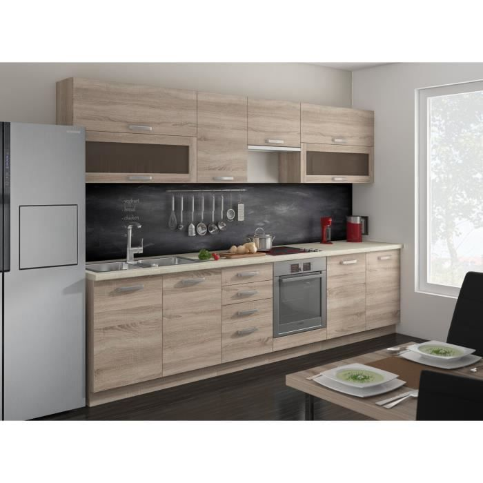 lassen cuisine compl te l 2m60 d cor ch ne sonoma achat vente cuisine compl te cuisine. Black Bedroom Furniture Sets. Home Design Ideas
