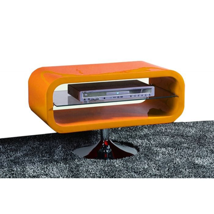 Meuble tv vintage en bois mdf orange laqu hippie achat for Meuble orange