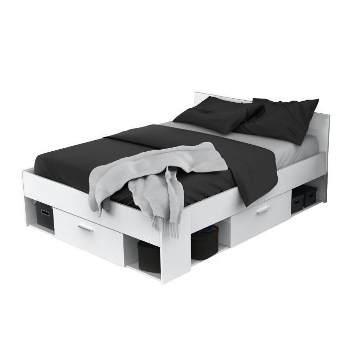 STRUCTURE DE LIT Lit 140x190/200cm blanc perle SEATTLE