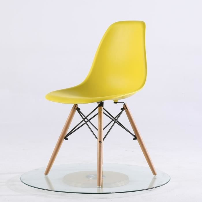 Chaise scandinave jaune moutarde top lot de chaises de for Chaise cuisine scandinave