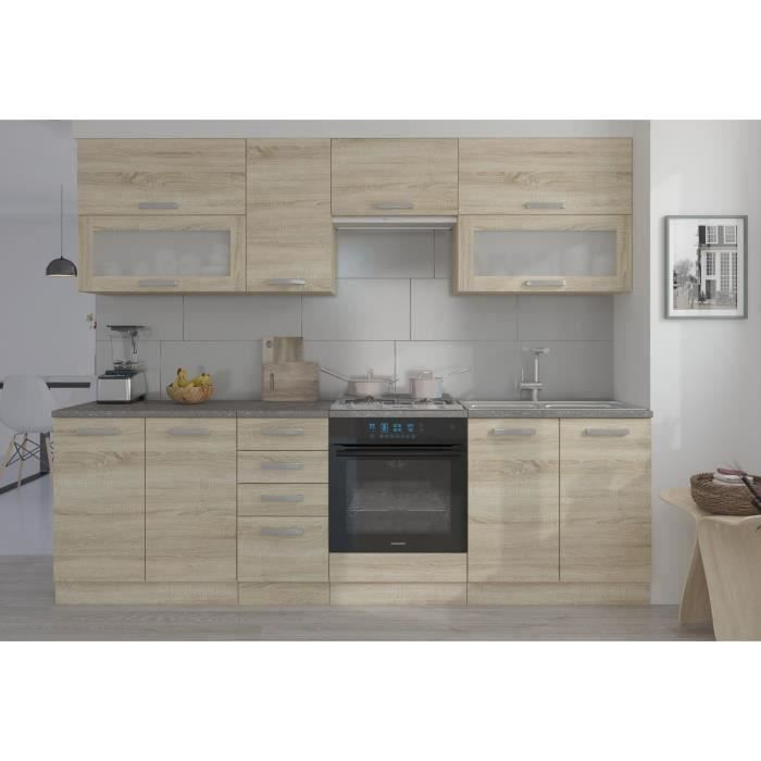 lassen cuisine compl te l 260 cm d cor ch ne clair sonoma achat vente cuisine compl te. Black Bedroom Furniture Sets. Home Design Ideas