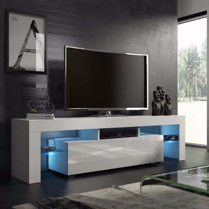 Meuble Tele Meuble Tv Meuble De Salon Blanc 130cm Style Moderne Achat Vente Meuble Tv Meuble Tele Meuble Tv Cdiscount