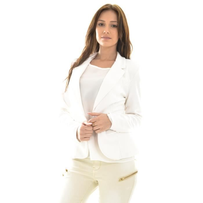 veste blazer blanche textur e blanc achat vente veste cdiscount. Black Bedroom Furniture Sets. Home Design Ideas