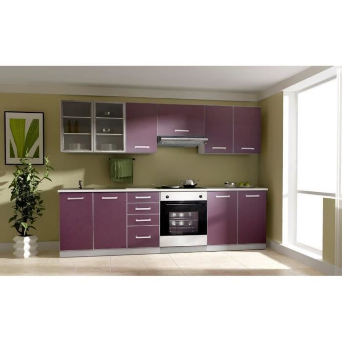 toulouse cuisine compl te 2m60 aubergine achat vente cuisine compl te cuisine toulouse 2. Black Bedroom Furniture Sets. Home Design Ideas