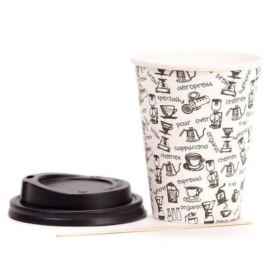 80 Gobelets Carton pour Caf/é /à Emporter des Boissons Chaudes et Froides Tasse Caf/é 360ml avec Couvercles et Agitateurs en Bois pour Servir le Caf/é le Th/é