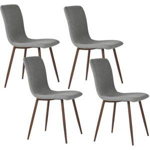CHAISE SCARGILL Lot de 4 chaises en tissu gris - Pieds dé