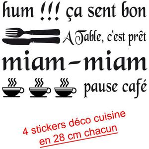 stickers phrase cuisine achat vente stickers phrase cuisine pas cher cdiscount. Black Bedroom Furniture Sets. Home Design Ideas