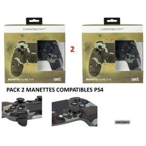 MANETTE JEUX VIDÉO PACK 2 MANETTES COMPATIBLES PS4 CAMOUFLAGE FILAIRE