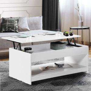 TABLE BASSE Table basse plateau relevable Soa bois blanche