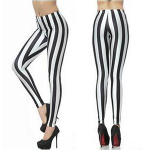 LEGGING Mode noir rayures blanc imprimer plus taille femme ... a7aedbe988b