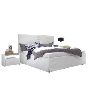 STRUCTURE DE LIT Cadre + Tête de lit 180*200 cm Simili cuir Blanc -