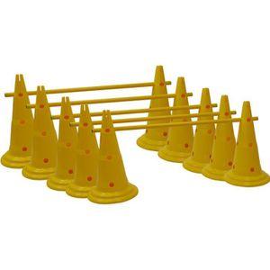BALISAGE - CONE - PLOT Lot de 10 cônes 12 trous 40 cm et 5 jalons 1 m - J