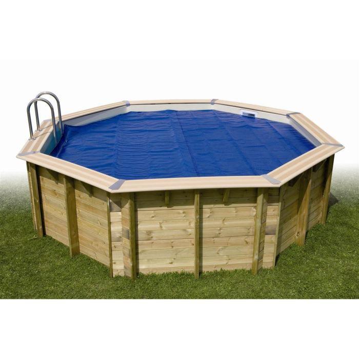 Bâche à bulles pour piscine bois AZURA 350x505