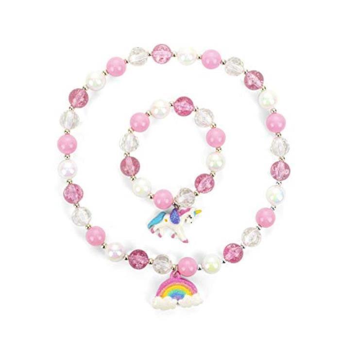 Docteur SA4PW Rainbow Neckace Unicorn Set,Unicorn Jewellery,Great Costume Jewelry for Pretend and Dress Up-Pink