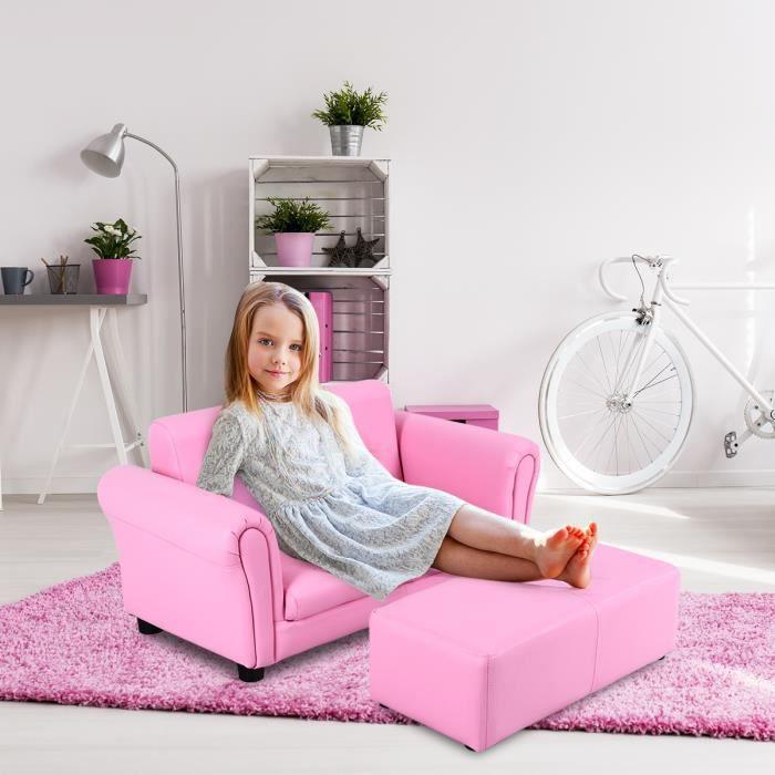 Canapé-lit enfant Sofa Enfant Canapé et Pouf 2 Places pour Enfant Bébé Rose