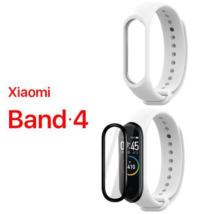 ALUCKY 1 pack bracelet dragonne (blanc) + 1 pack Film protecteur d'écran (noir) pour Xiaomi Band 4 Mi band